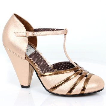 Vintage Style Nude & Gold T-Strap Lana Pumps