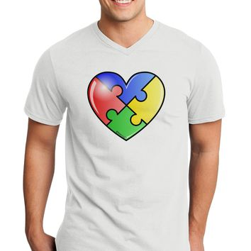 Big Puzzle Heart - Autism Awareness Adult V-Neck T-shirt by TooLoud