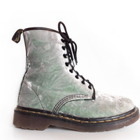 Pearl Mint Crushed Velvet Vintage 90's Dr. Martens Lace up Ankle Boots // 7.5