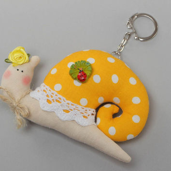 Soft fabric toy keychain handmade yellow snail with lace good present for childr