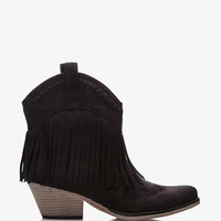 Fringe Western-Style Booties | FOREVER 21 - 2037921704