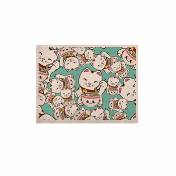 """Juan Paolo """"Ramen Cats"""" Teal White KESS Naturals Canvas (Frame not Included)"""
