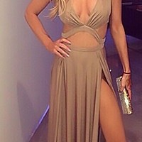 Beige Sleeveless Plunge V Neck Cut Out Double Thigh Slit Maxi Dress