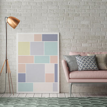 Abstract Print Poster, Pastel Print Poster, Pastel Brick, Geometric Print Poster, Minimalist Poster, Pastel Wall Art, Pastel Abstract, 11x17