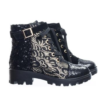 Tread12 by Aquapillar Lace Up Combat Boots w Sequins & Faux Fur Lining In GoldLace Or Velvet