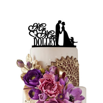 Personalized Wedding Cake Topper Mr Heart Mrs With Puppy