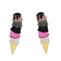 Multi-coloured Ice Cream Cone Earrings