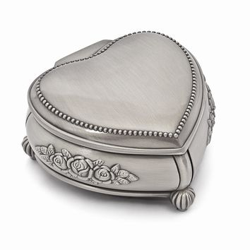 Pewter-tone Finish Heart Rose Jewelry Box - Engravable Personalized Gift Item