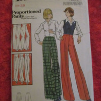 SALE UnCut 1970's Butterick Sewing Pattern, 5736! Size 25 Waist, Disco Pants, Bell Bottoms, Flare Jeants Pants, Short to Tall