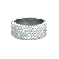 Royal Celebration 1.67 Carats 5 Row Diamond Pave Set Right Hand Ring in 14K White Gold