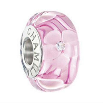 CHAMILIA Breast Cancer Give Heart Pink Murano Bead