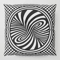 Black & White Twist & Check Design Floor Pillow by inspiredimages