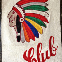 Vintage Indian Club Chain Stitch Patch, LARGE Indian Head Patch, Vintage Chainstitch, Chief Patch