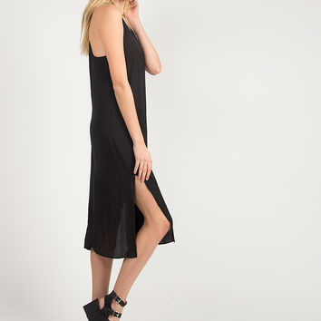 Silky Knotted Back Dress - Black - Medium