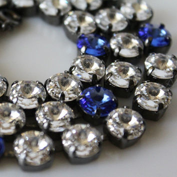 Swarovski Crystal Tennis Necklace, Rhinestone Necklace, Swarovski Crystal Necklace, Round Rivoli, 8mm Chatons, Sapphire Blue