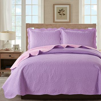 Sherry - 3 Piece - Solid Reversible Quilt Set - Lilac Bedding Set