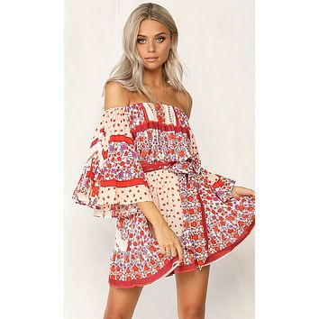 Always Carefree Red Floral Pattern Off the Shoulder Loose Ruffle Sleeve Tie Waist Casual Mini Dress