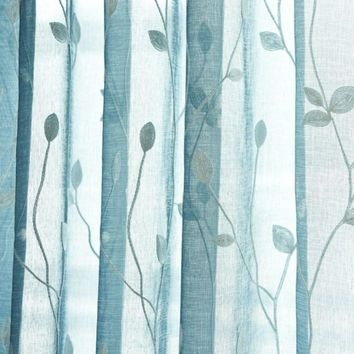 Embroidery Floral Tulle Sheer Curtains Elegant Solid White Rod Pocket Window Curtains