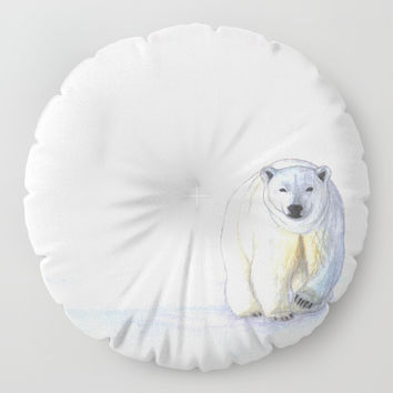 Polar bear in the icy dawn Floor Pillow by Savousepate