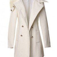 Large Lapel White long sleeve big lapel woolen coat  double-breasted closure type  Solid Pop  style cy91501602 in  Indressme