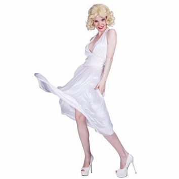 CREY6F Women Sexy White Marilyn Monroe Costume Deluxe Halter Dress Cosplay Party Fancy Dress for Female Adult Girl Halloween Costumes