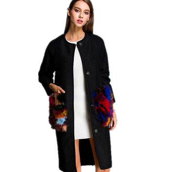 Exclusive custom Europe 2016 colorful fox fur pocket wool Clip long cashmere woolen cloth cotton-padded coats oversize coat
