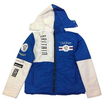 ONETOW Club Foreign Britain Bubble Jacket Detachable Hood In Blue/White