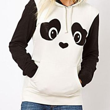 WMNS Panda Themed Hoodie - Furry Ears / Black White