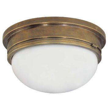 Visual Comfort and Company SL4002HAB-WG Antique Brass Large Marine Flush Mount Ceiling Light