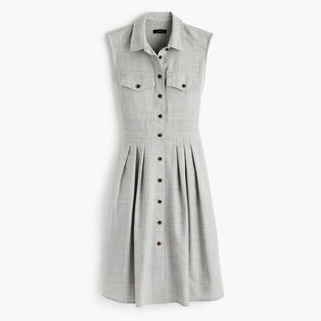 Petite sleeveless shirtdress in Super 120s