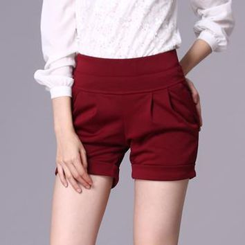 2016 new shorts women plus size summer short pants casual high waist harem trousers woman red,black,brown,army green S~4XXXXL