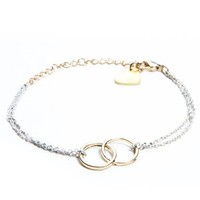 Brandy ♥ Melville |  Gold and White Double Circle Bracelet - Jewelry - Accessories