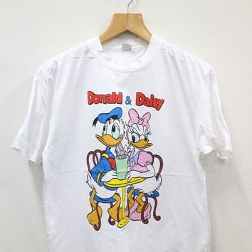 THRIFTY SALES 20% Vintage 90s DONALD and Daisy Mickey Mouse Disney Wonderland Swag Streetwear Fashion White T Shirt