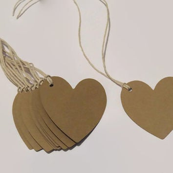 heart tags, wedding decorations, Custom Colors, 20 pieces, wishing tree, party favors, favor tag, handmade gift tags, kraft hearts, bridal