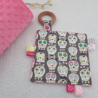 Crinkle Teether - Sensory Blanket,  Sensory Toy - Sugar Skulls, Ready To Ship