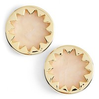 Women's House of Harlow 1960 Sunburst Button Earrings - Gold/ Rose Quartz