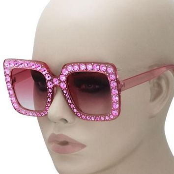 8be1a8a827f3 2018 NEW Oversized Square Frame Bling Rhinestone Sunglasses Wome