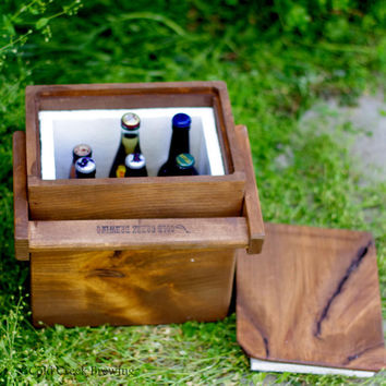 Igloo - Beer - Cooler - Insulated Carton - Wooden Cooler - Beer Cooler - Rustic Wood Igloo - Best Man - Groomsman Gift