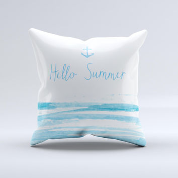 The Hello Summer Anchor Watercolor Blue V1 ink-Fuzed Decorative Throw Pillow
