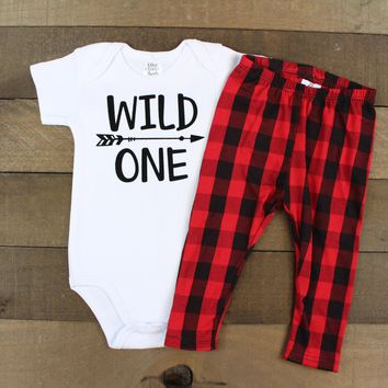 Wild One Boys 1st Birthday Outfit | Red/Black Buffalo Plaid Leggings with Wild One with Arrow Top | Wild One Bodysuit Boys 1st Birthday