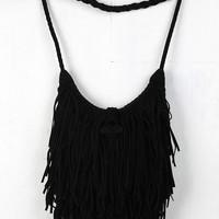 Suede Fringe Braided Crossbody Bag