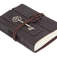 Dark Brown Leather Journal with Key Bookmark