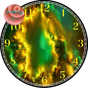 """Blazing Star Nebula Painting Art - -DIY Digital Collage - 12.5"""" DIA for 12"""" Clock Face Art - Crafts Projects"""
