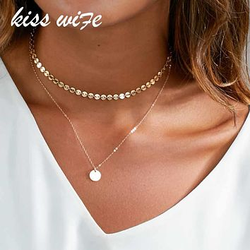 KISS WIFE 2017 New Fashion Gold Coin Layered Necklace Set For Women Charm Choker Necklace