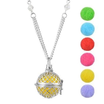 Aromatherapy Essential Oil Ball Necklace w/ 7 Diffusing Pom Poms - Silver Tone - Extra Long Chain