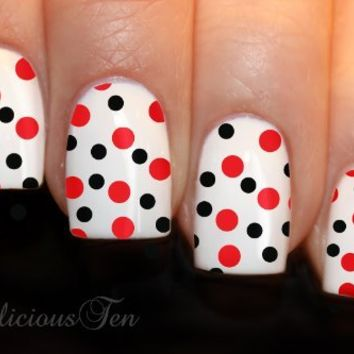 NAILICIOUS TEN Polka Dots Nail Art Wrap Water Transfer Decal Black & Red 12pcs - ST8021