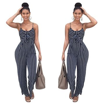Fashion Black And White Stripe Sleeveless Strap Bow Sexy Jumpsuits
