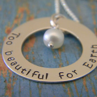 """1"""" Too Beautiful for Earth, Solid Sterling Silver Personalized Hand Stamped Custom Made Name Plate Washer Necklace"""