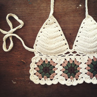 Granny Square Halter PRE-SALES - Hand Crochet Cotton Bikini / Crop Top - Boho Festival Fashion - Made to Order Custom Just For You