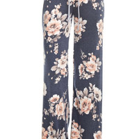 Soft Floral Print Casual Pants - Navy